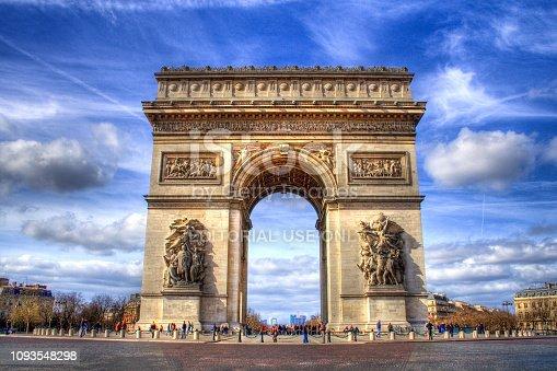 Paris, France - March 8, 2008: Arc de Triomphe at Paris surrounded with tourists (HDR image).