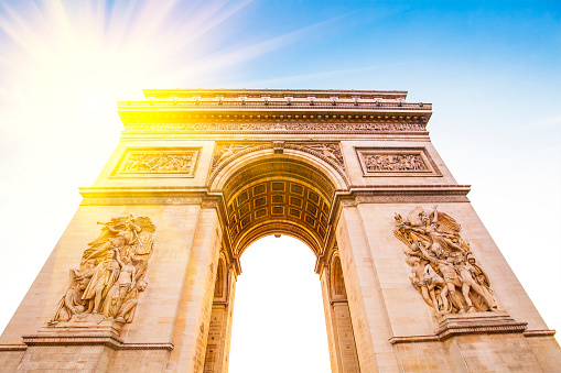 Arch of Triumph at evening, Paris city, France travel photo