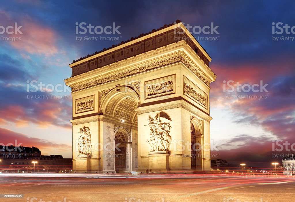 Arc de Triomphe at sunset, Paris stock photo