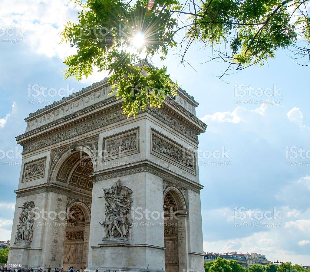 Arc de Triomphe de l'Étoile  on a Sunny Spring Day stock photo