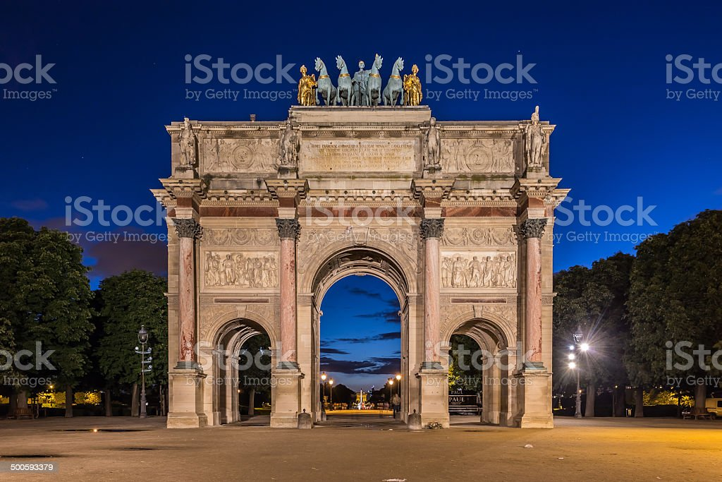 Arc de Triomphe du Carrousel at Tuileries Gardens, Paris stock photo