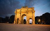 Arc de Triomphe du Carrousel in Paris at Dusk. France.