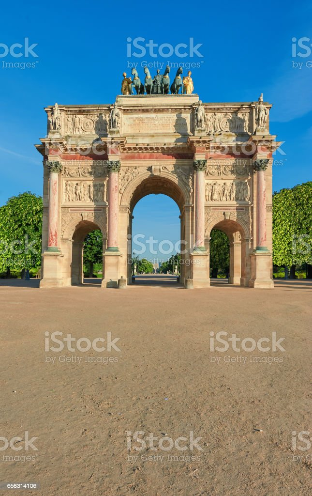 Arc de Triomphe du Carrousel in Paris, front view stock photo
