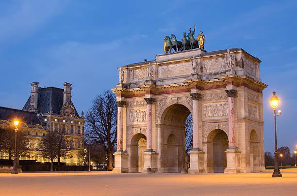 Arc de Triomphe du Carrousel in Paris Paris (France). Arc de Triomphe du Carrousel in the sunrise musee du louvre stock pictures, royalty-free photos & images