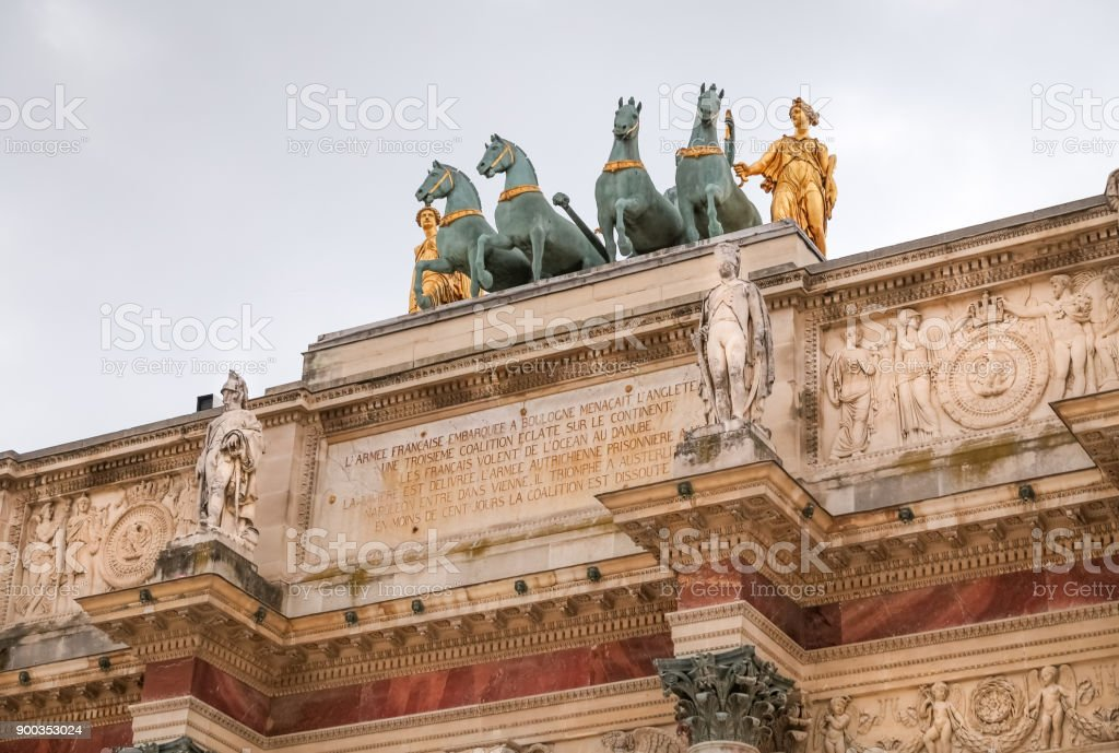 Arc de Triomphe du Carrousel in Paris stock photo