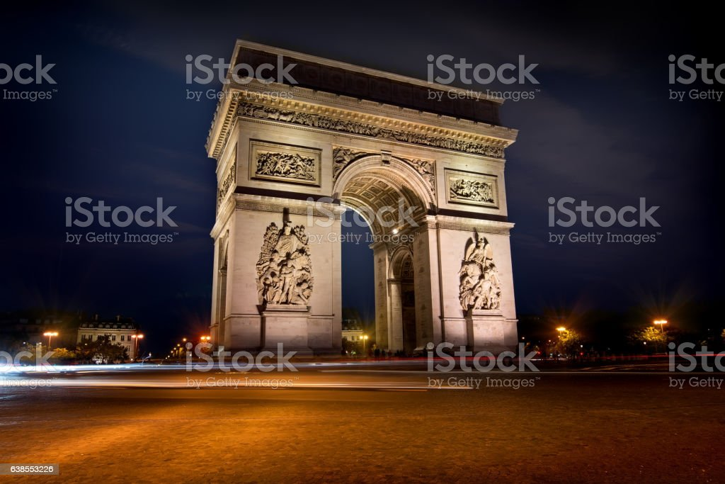 Arc de triomphe in evening stock photo