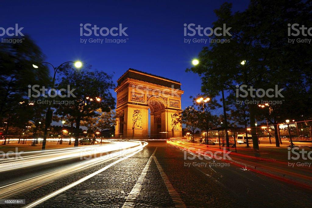 Arc de Triomphe in night stock photo