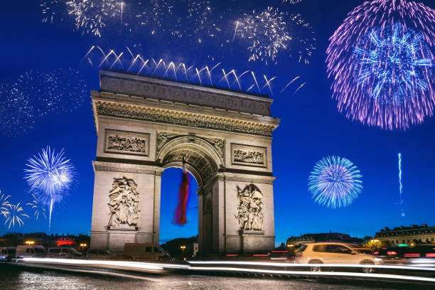 Arc de Triomphe in Paris during New Year's Eve celebrations stock photo