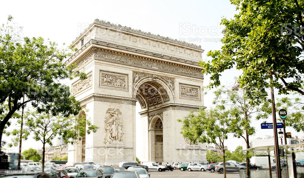 Arc de Triomphe in Paris, France.  European city streets. stock photo