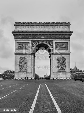 Paris, France - December 24, 2018: Triumphal Arch in Paris, Black and white, Monochrome view. Architecture and landmarks of Paris.
