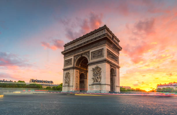 Arc de Triomphe in Paris the landmark of Paris, France in the evening international landmark stock pictures, royalty-free photos & images