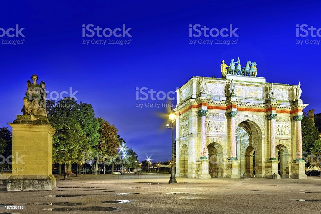 Arc de Triomphe in the square Karruzel stock photo