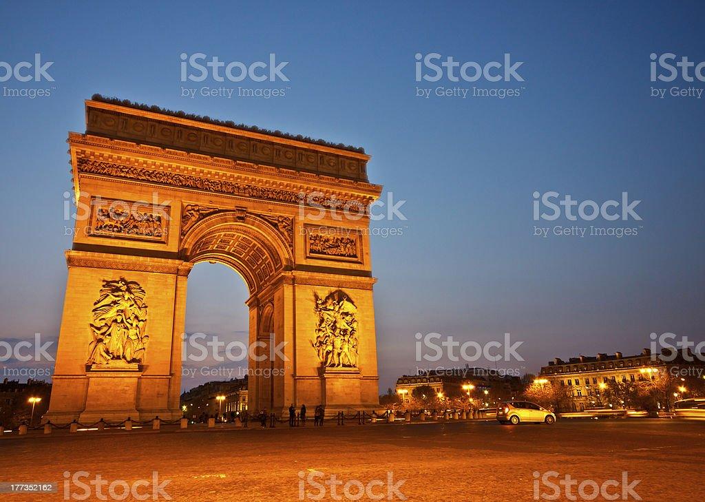 Arc de Triomphe in twilight, Paris, France stock photo