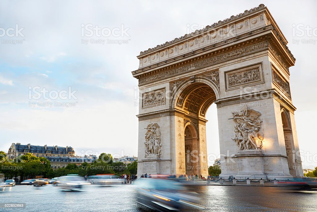 Arc de Triomphe morning in Paris, sunlight stock photo