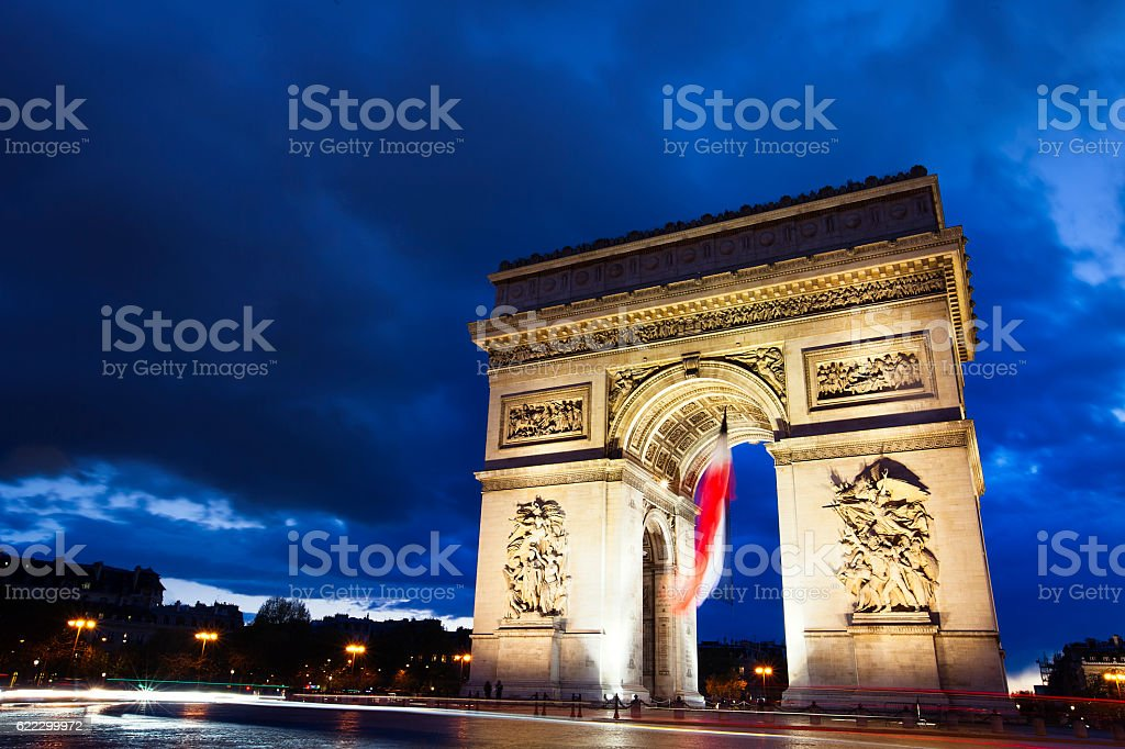 Arc De Triomphe Paris at night stock photo