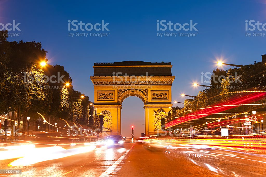 Arc de Triomphe, Paris by night royalty-free stock photo