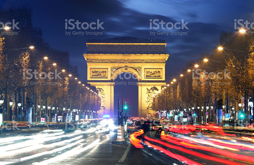 Arc de triomphe Paris city at sunset​​​ foto
