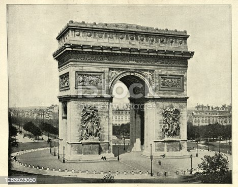 Vintage photograph of Arc de Triomphe, Paris, France, 19th Century