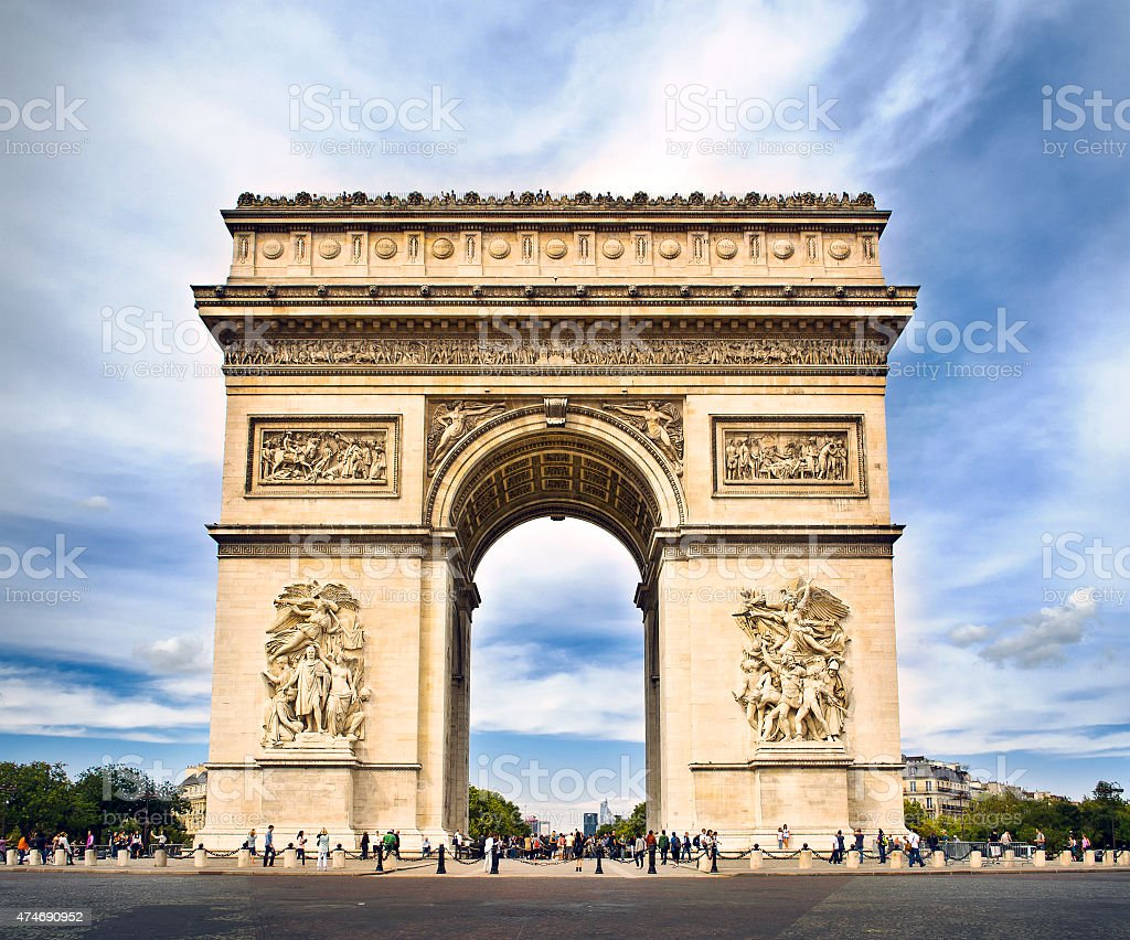 Arc de triomphe Paris, France at Sunset​​​ foto