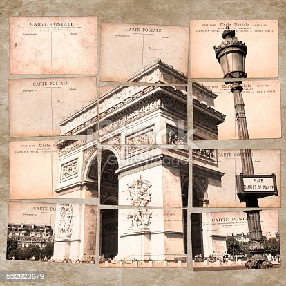 Arc de Triomphe, Paris, vintage postcard collage