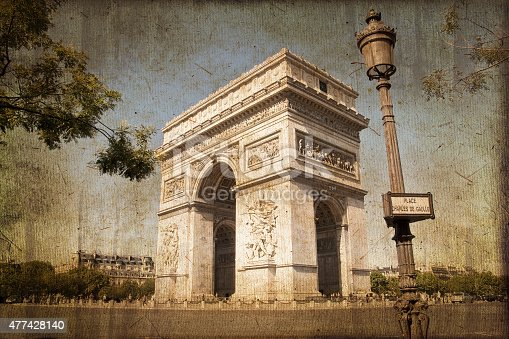 Arc de Triomphe, Paris, vintage textured sepia process