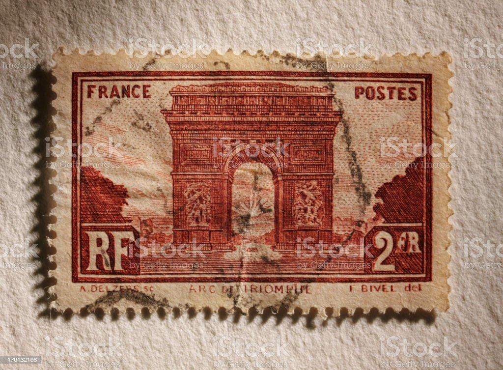 Arc de Triomphe Postage Stamp royalty-free stock photo
