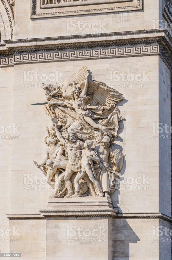 Arc de Triomphe sculptures stock photo