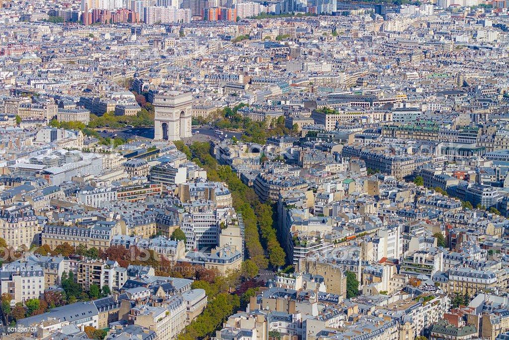 Arc de Triomphe seen from Tour Eiffel stock photo