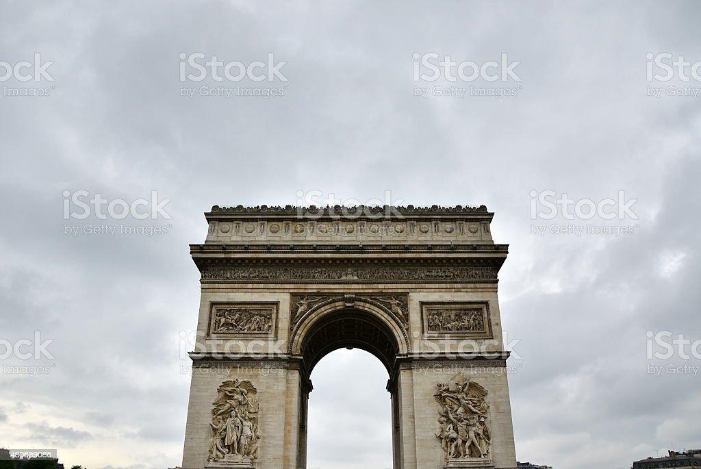 Arc de Triomphe with moody sky stock photo