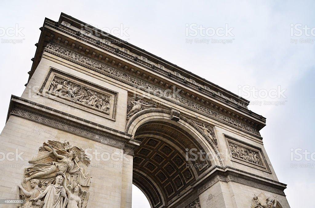 Arc de Triomphe with sky in Paris stock photo