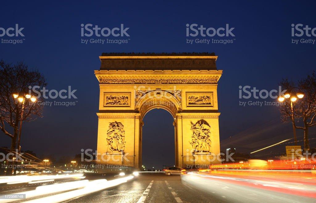 Arco De Triunfo al atardecer foto de stock libre de derechos