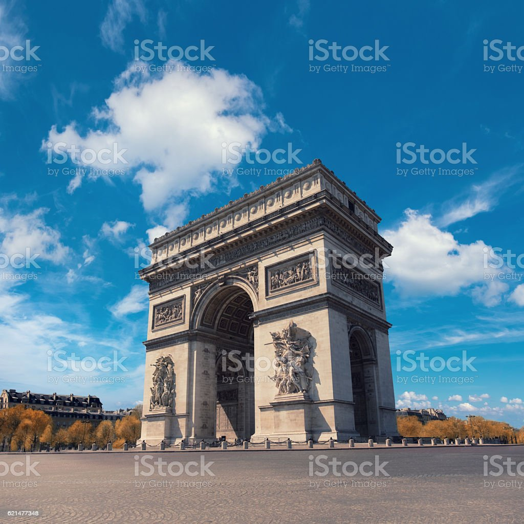 Arc de Triumph in Paris on a bright day stock photo