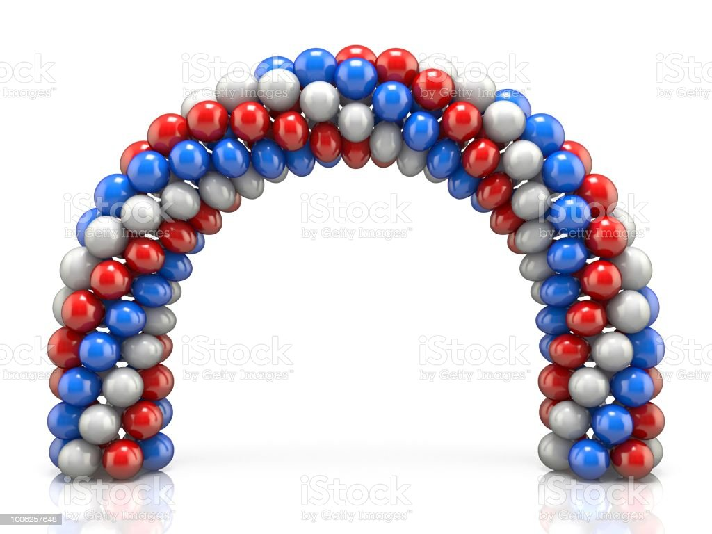 Arc made of white, red blue balloons 3D stock photo