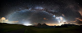 Starry sky in the mountains, photo taken at 2000 m (Dolomites, italian Alps): the entire visible arc of the Milky Way, our galaxy.