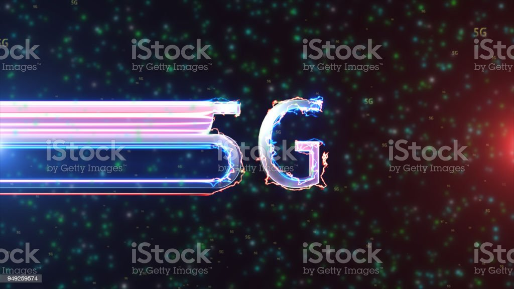 5G arc reactor and particle appearance with intro stock photo
