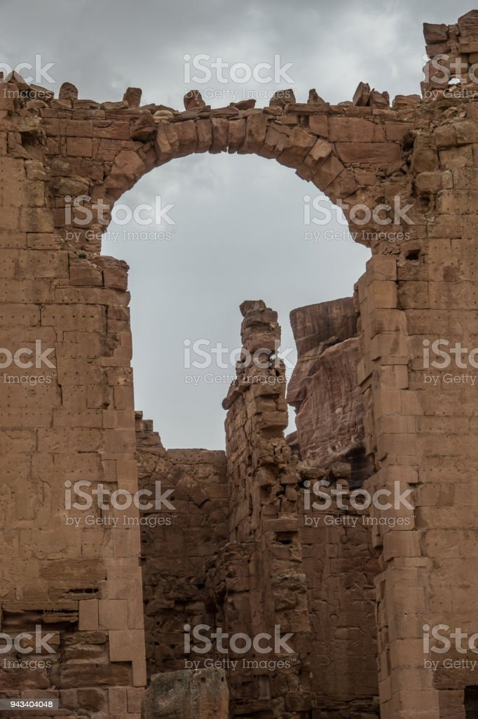Arc stone detail near the Great Temple in Petra stock photo
