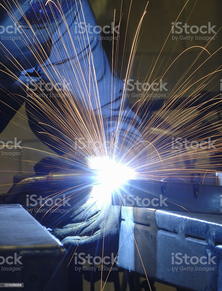 Arc welder with sparks royalty-free stock photo