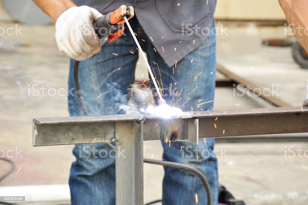 Arc welding or stick welding stock photo