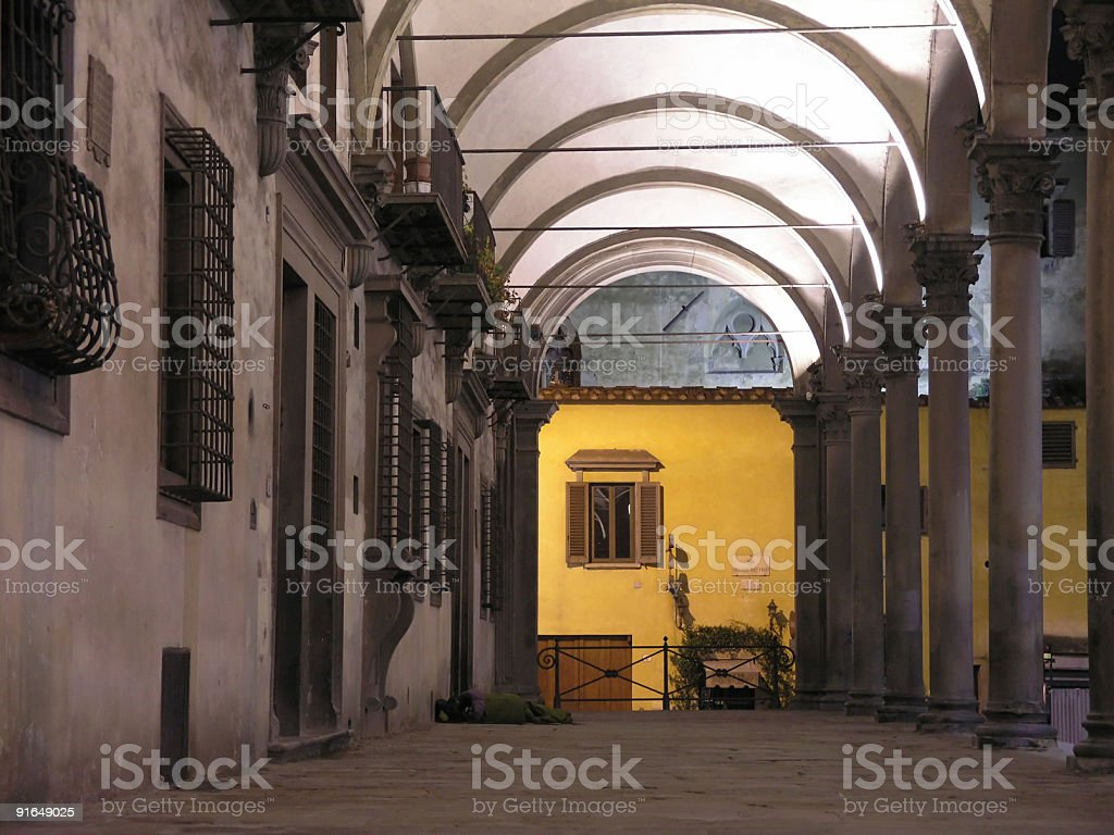 Arcade at Piazza Santissima Annunziata Florence stock photo