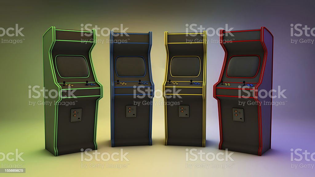 Arcade Games 4 Colors Frontal royalty-free stock photo