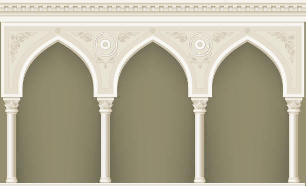 arcade in oriental style - boog architectonisch element stockfoto's en -beelden