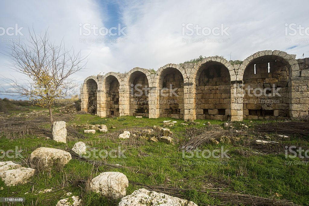 Arcade in  Perge royalty-free stock photo