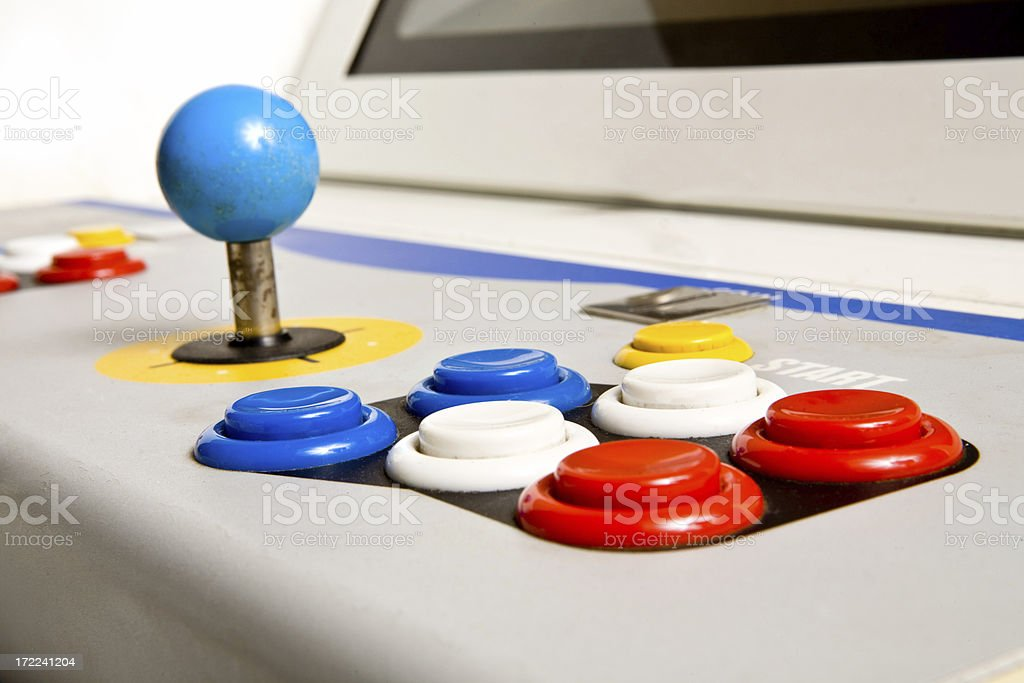 Arcade Joystick and Buttons (side view) stock photo