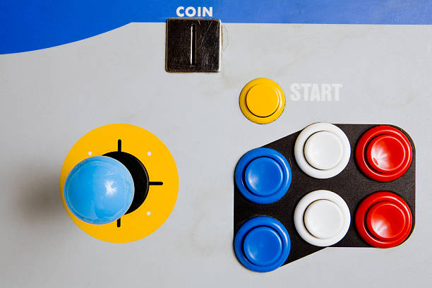 Arcade Joystick and Buttons (top view) stock photo