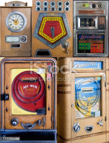 Collection of antique penny arcade machines. Manufacturers no longer in existence.