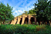 istock Arcade of stone columns in Park Guell, designed by Gaudi. 622793820