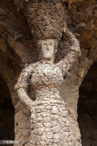istock Arcade of stone columns in Park Guell 179288116