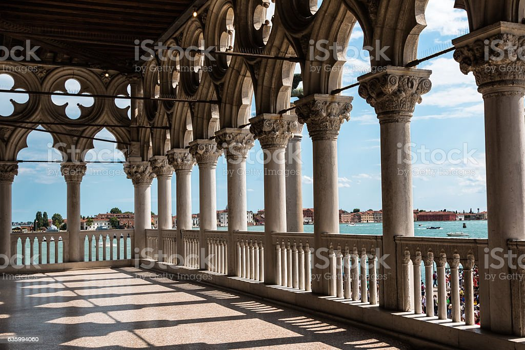 Arcade of the Doge's Palace: Gothic architecture Venice, Italy stock photo