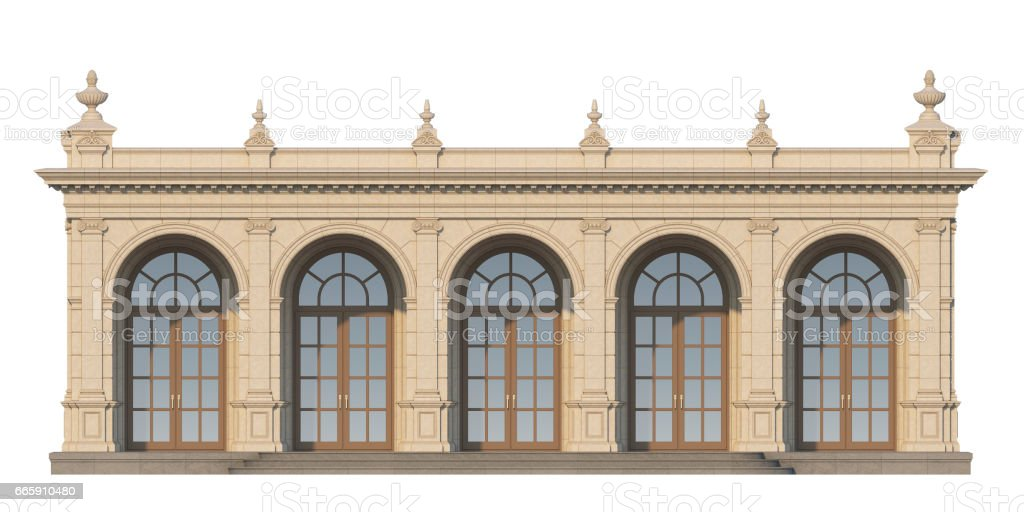 arcade with ionic pilasters in classic style. 3d render foto stock royalty-free