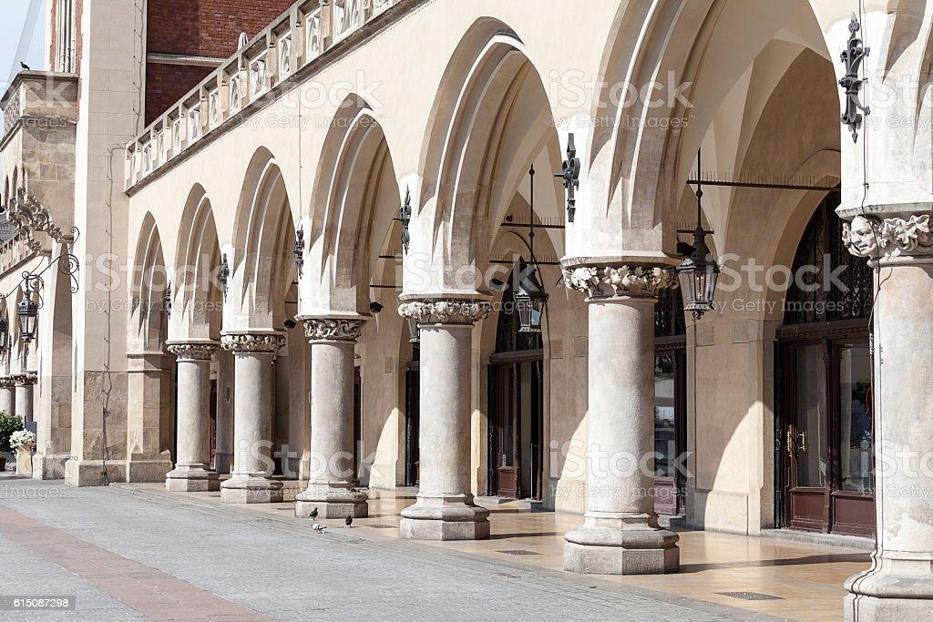 Arcaded Cloth Hall ( Sukiennice) ,Main Market Square, Krakow, Poland. stock photo